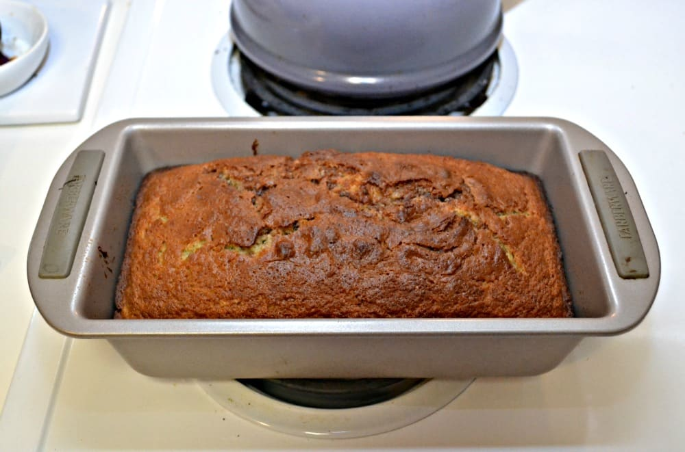 Bake up a loaf of Banana Bread with a chocolate hazlenut swirl in the middle of it