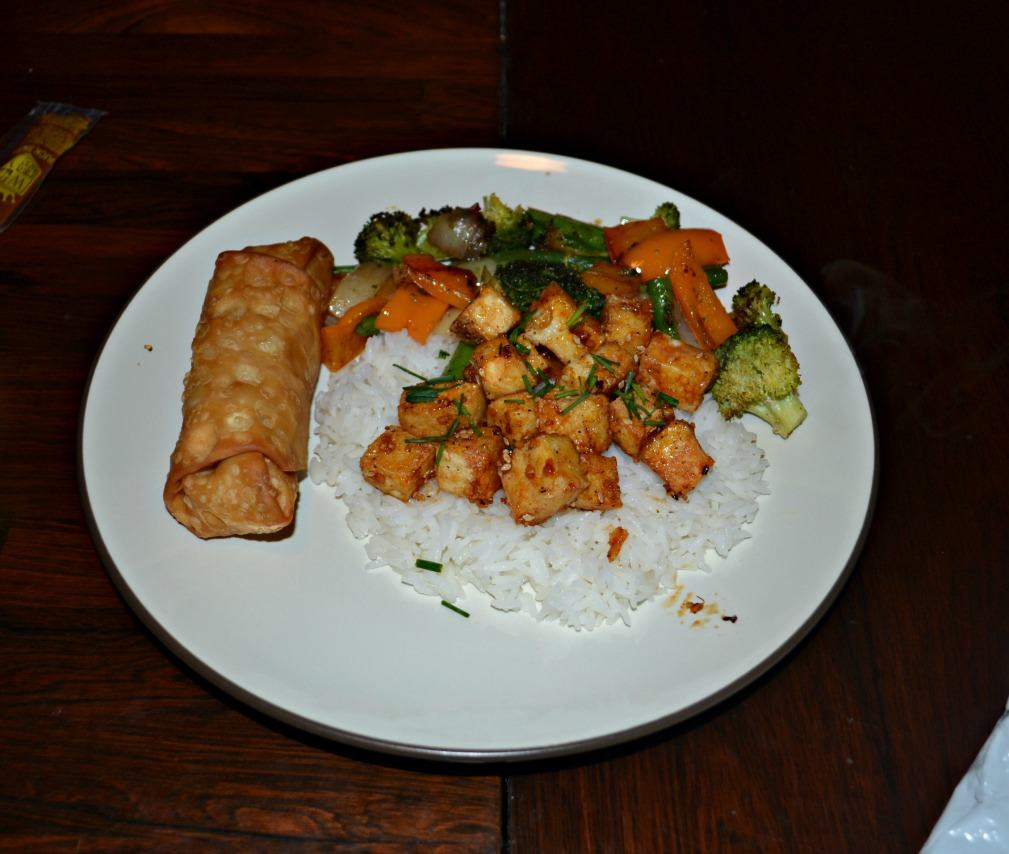 Sweet and spicy Honey Sriracha Tofu with vegetables is a delicious meal!