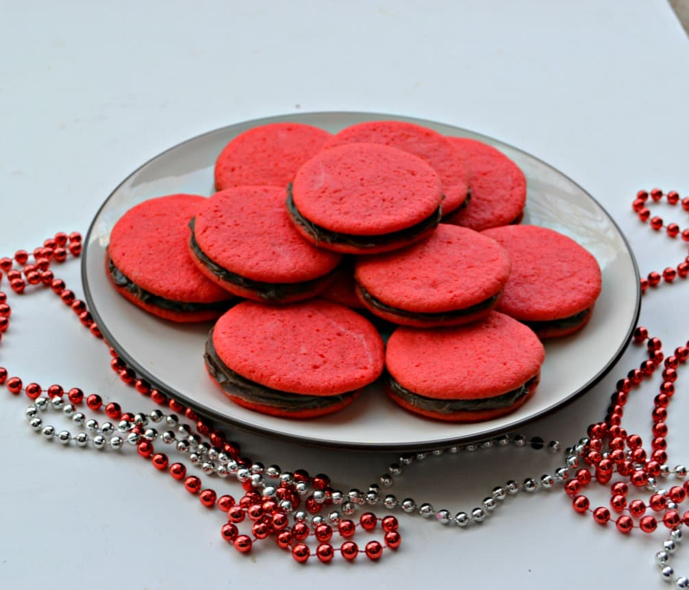 Valentine's Day Cookie Sandwiches filled with Chocolate