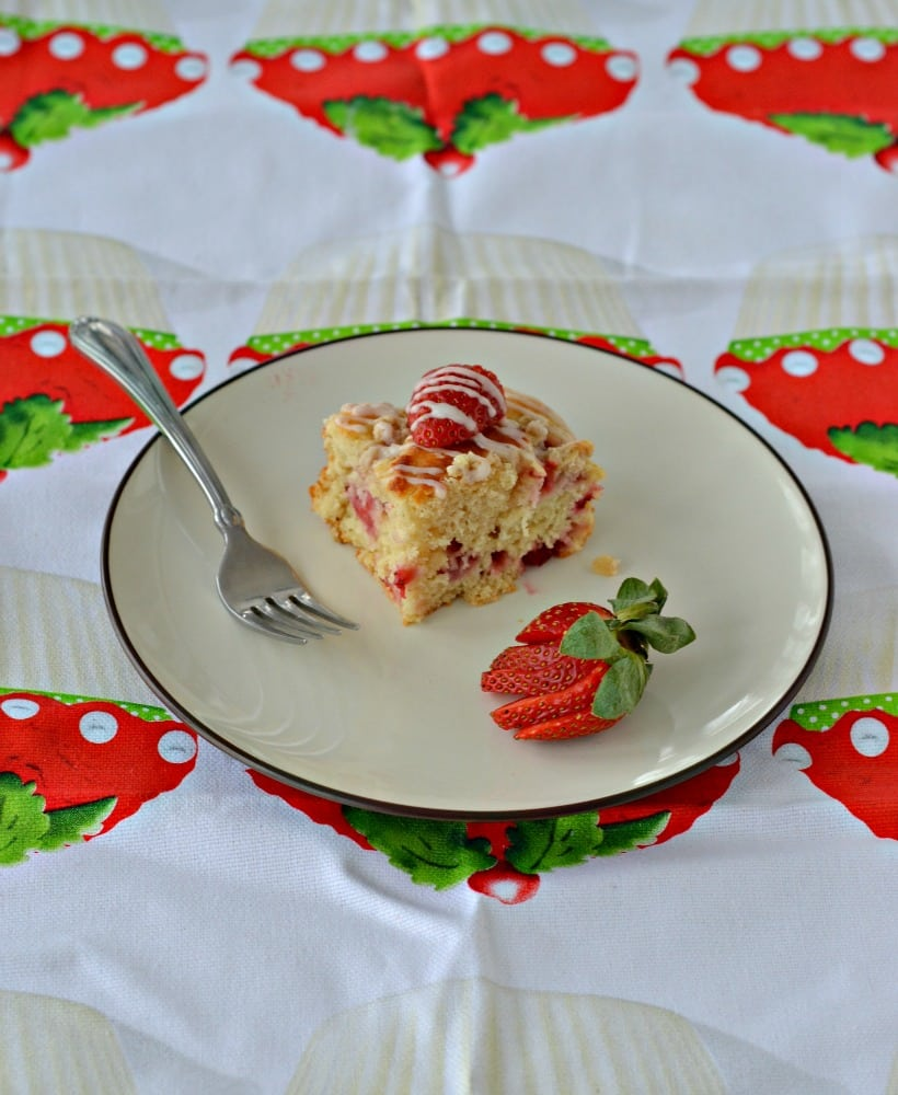 Wake up in the morning to this delicious Strawberry Coffee Cake made with Greek Yogurt