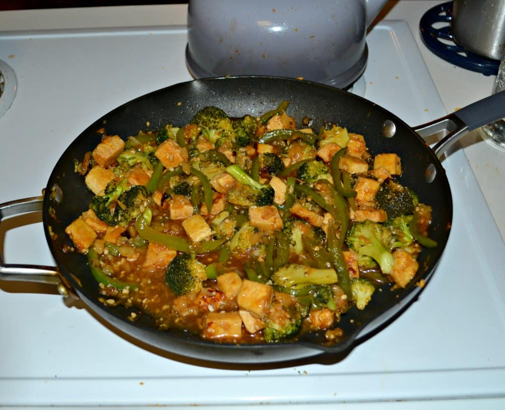 Sweet and Sour Tofu with peppers and broccoli is a vegan delight