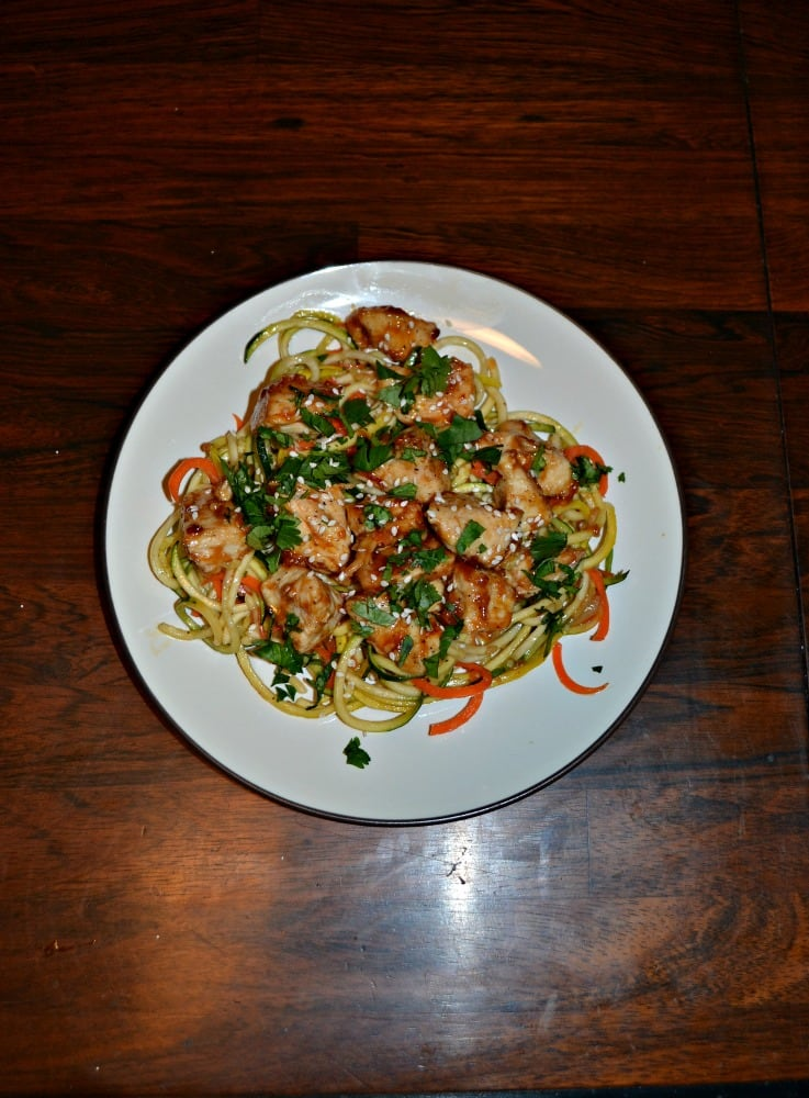 Try this healthy and delicious Chicken and Tangy Peanut Sauce over Zoodles