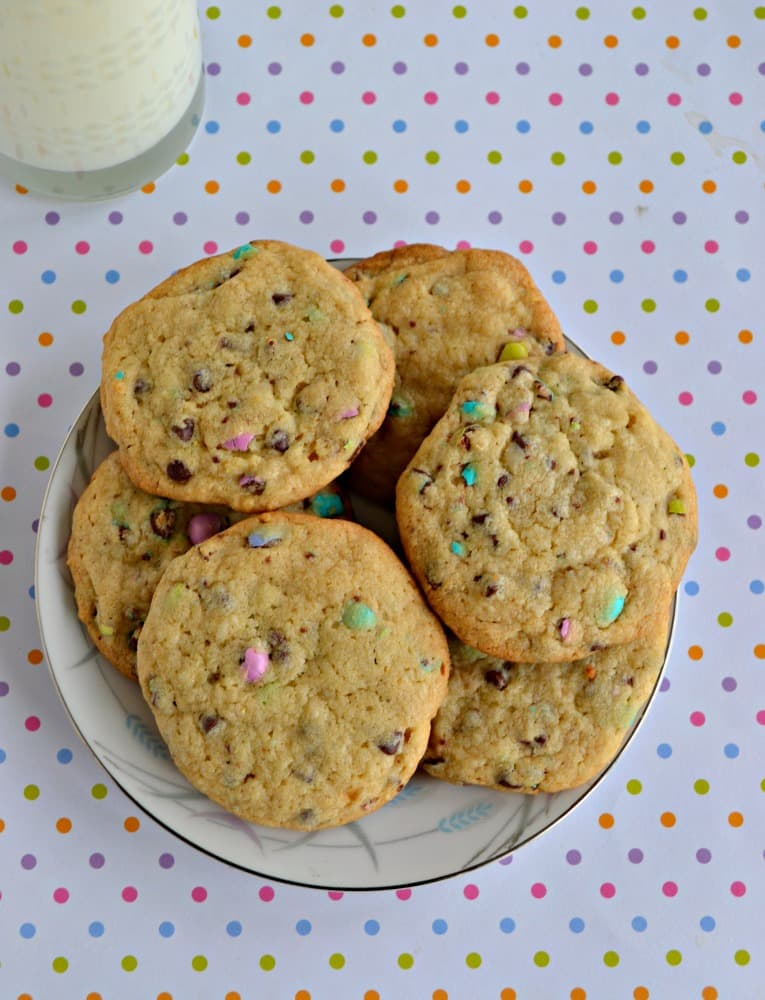 Malt M&M's Cookies are stuffed with pastel M&M's