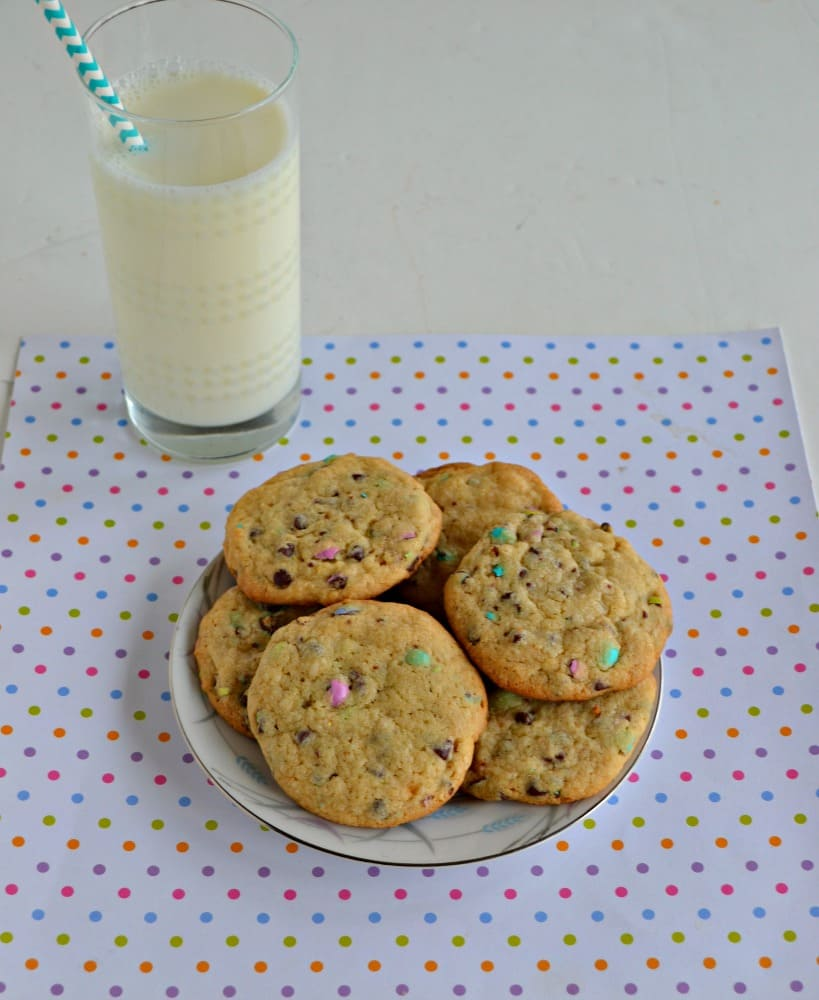 These delicious cookies are studded with pastel colored malt M&M's for the perfect spring cookie recipe!