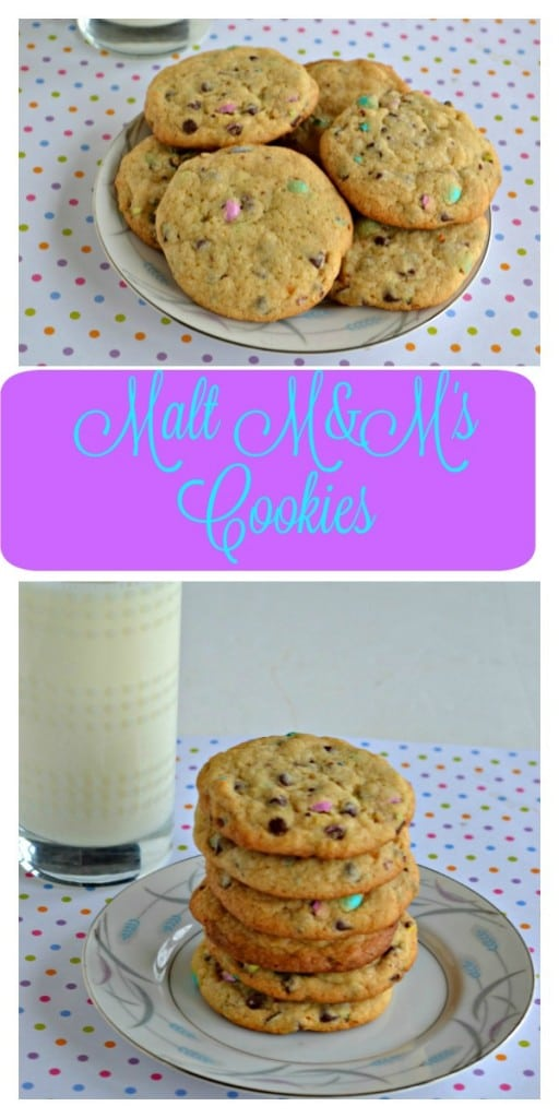 Check out a stack of chocolate chip cookies studded with pastel colored malt M&M's