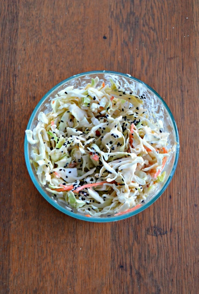 A delicious Asian slaw to go on top of Thai Meatball Lettuce Wraps!