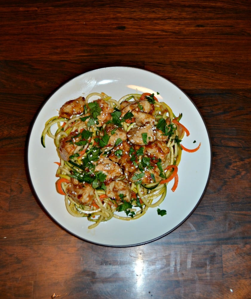Chicken and Tangy Peanut Sauce over Carrot and Squash Noodles is a great healthy dinner