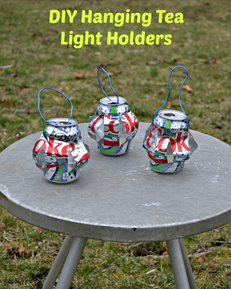 "Make a set of DIY Hanging Tea Light Holders in as little as 20 minutes using Diet Coke ""It's Mine"" cans"