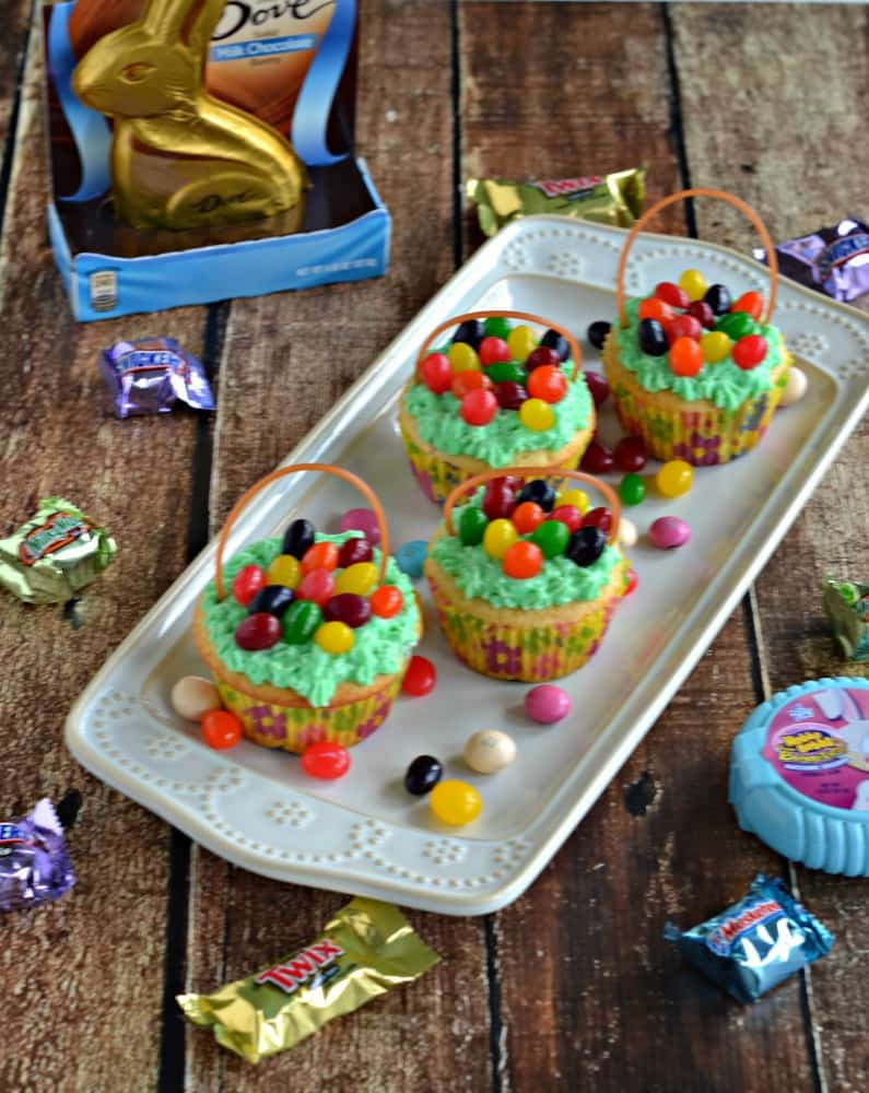 Easter Basket Cupcakes are made with M&M's® Easter Sundae and Starburst® Original Jellybeans