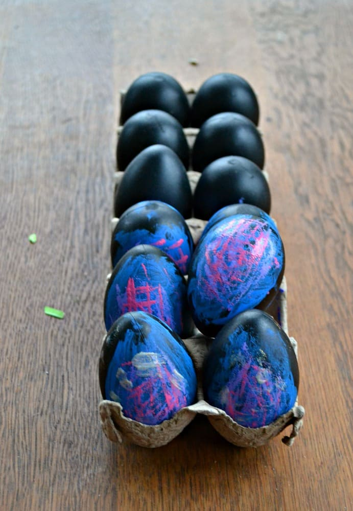 A few swirls of paint turn eggs into fun Galaxy Easter Eggs