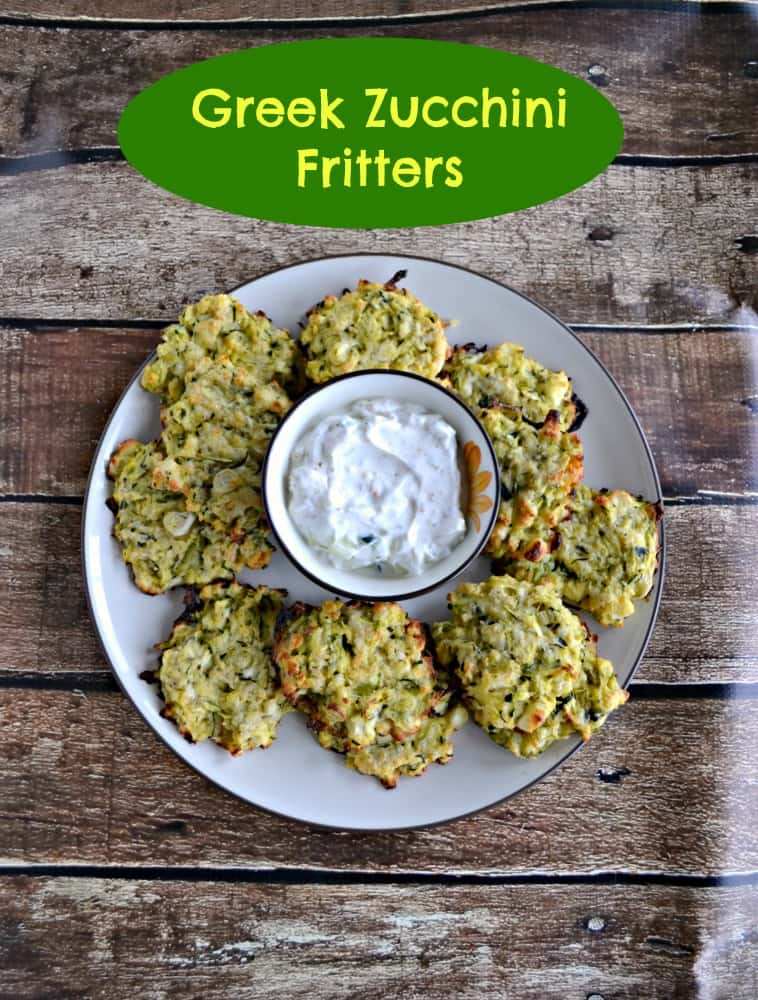Greek Zucchini Fritters are baked in the oven and served with a cool Tzatziki Sauce