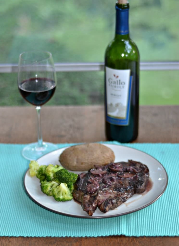 Grilled Ribeye with Merlot Mushroom Sauce is a great way to jazz up steak!