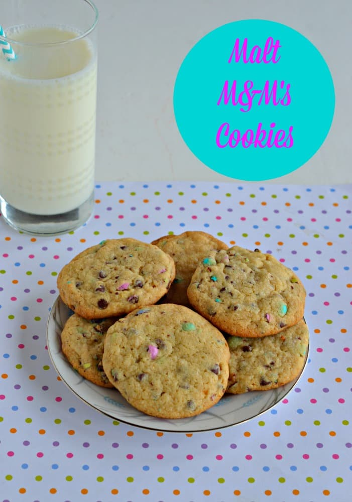 Give your family a tall glass of milk with these delicious chocolate chip cookies studded with pastel colored Malt M&M's