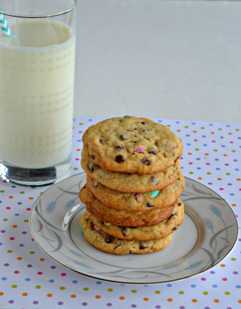 Give your kids a spring treat with these chocolate chip cookies studded with pastel colored malt M&M's!