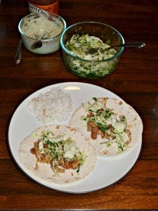 Shredded Pork Tacos with Pinto Beans and Slaw