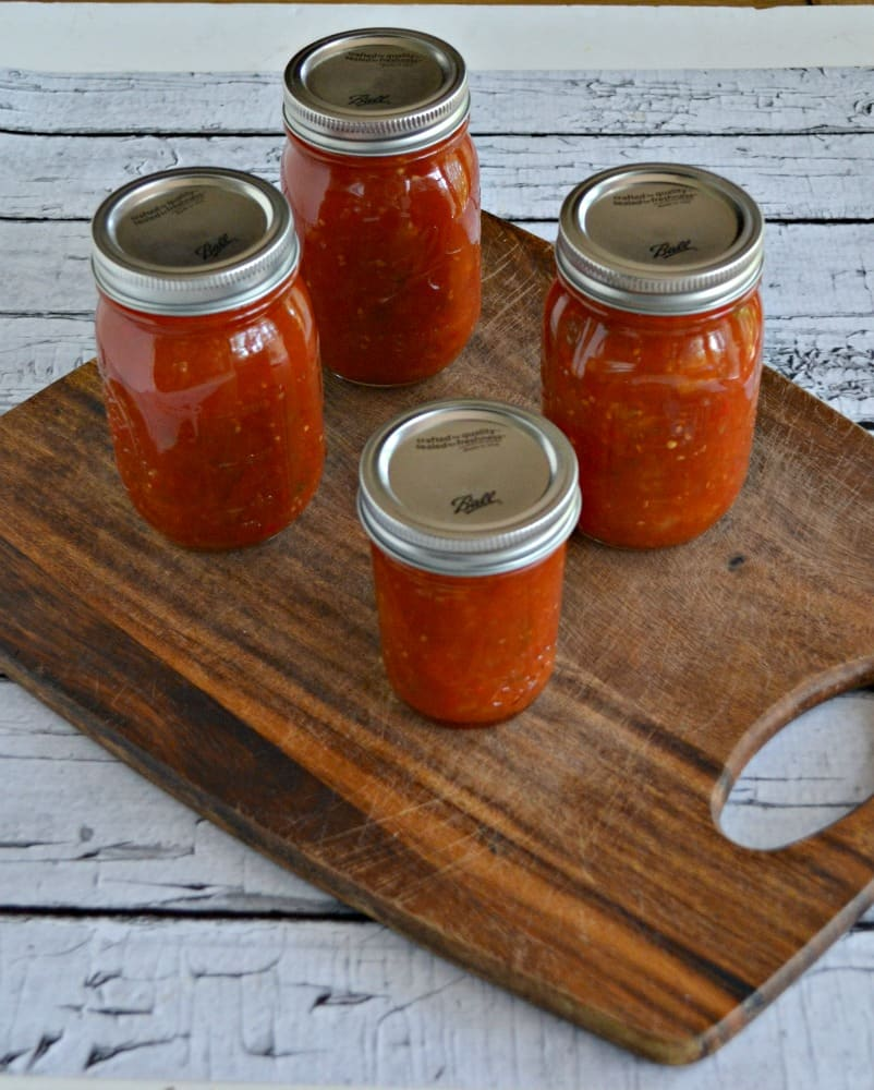 Sweet and Hot Chili Sauce is a great way to can tomatoes into a delicious sauce