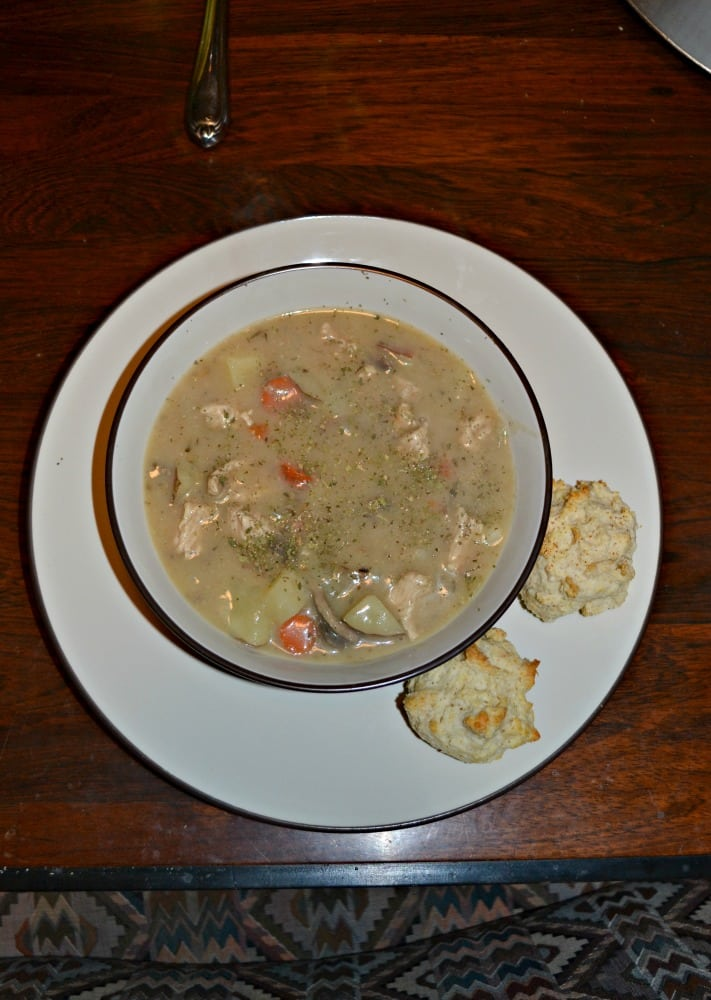 Enjoy a warm and hearty bowl of Turkey and Vegetable Stew with Biscuits