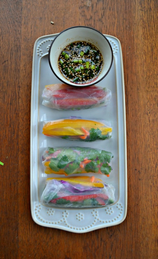 Wrap up colorful vegetables in spring roll wrappers to make Fresh Vegetable Rainbow Rolls