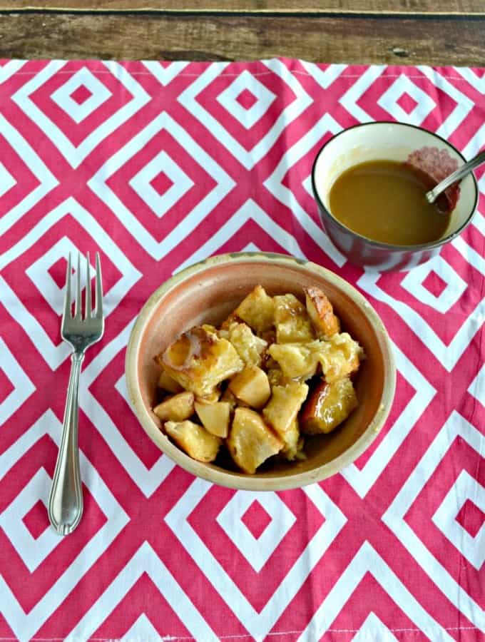 Grab a fork and dig into this Apple Bread Pudding with Butterscotch Sauce