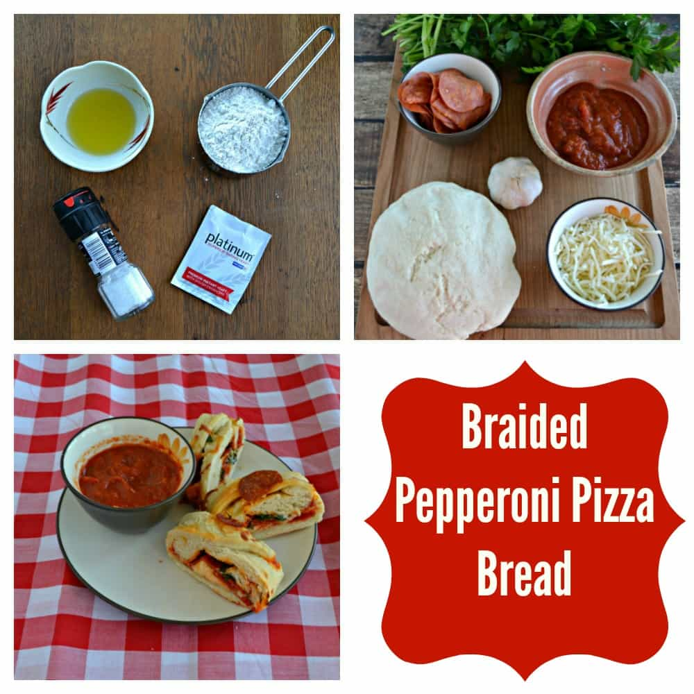 Just a few ingredients make a fresh pizza dough for this Braided Pepperoni Pizza Bread