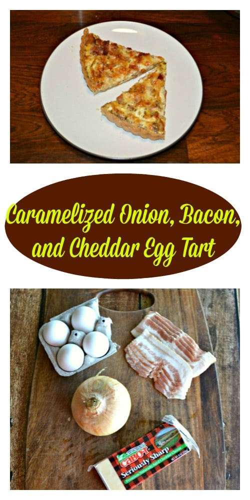 Grab a few easy ingredients and make your family a Caramelized Onion, Bacon, and Cheddar Egg Tart!