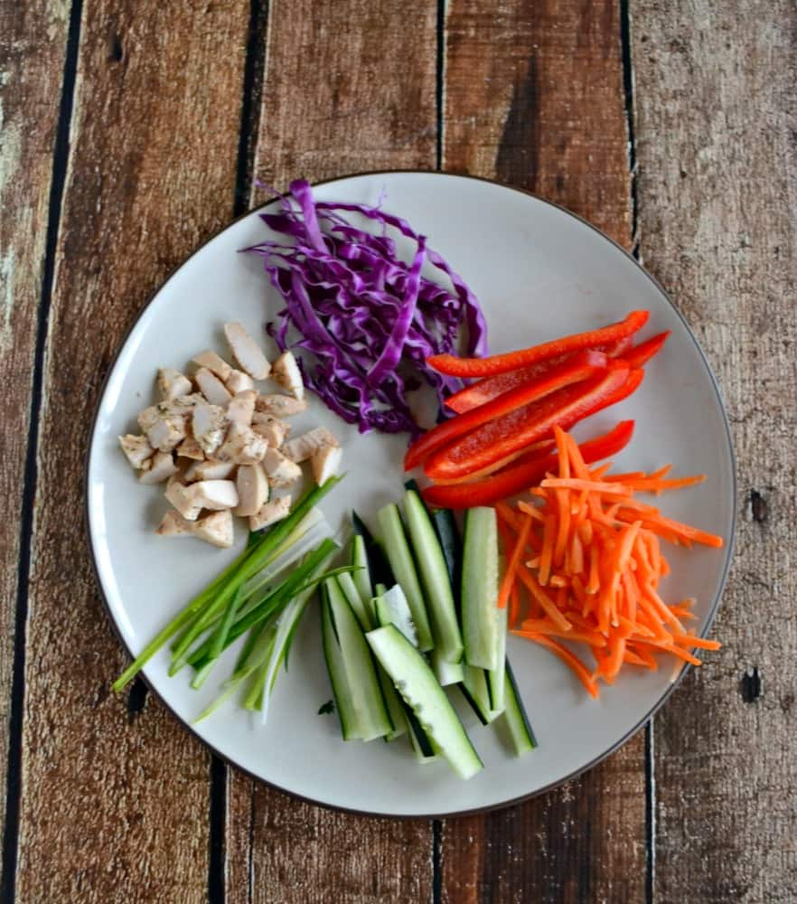 Check out the gorgeous colors getting ready to go into Chicken and Vegetable Rolls!