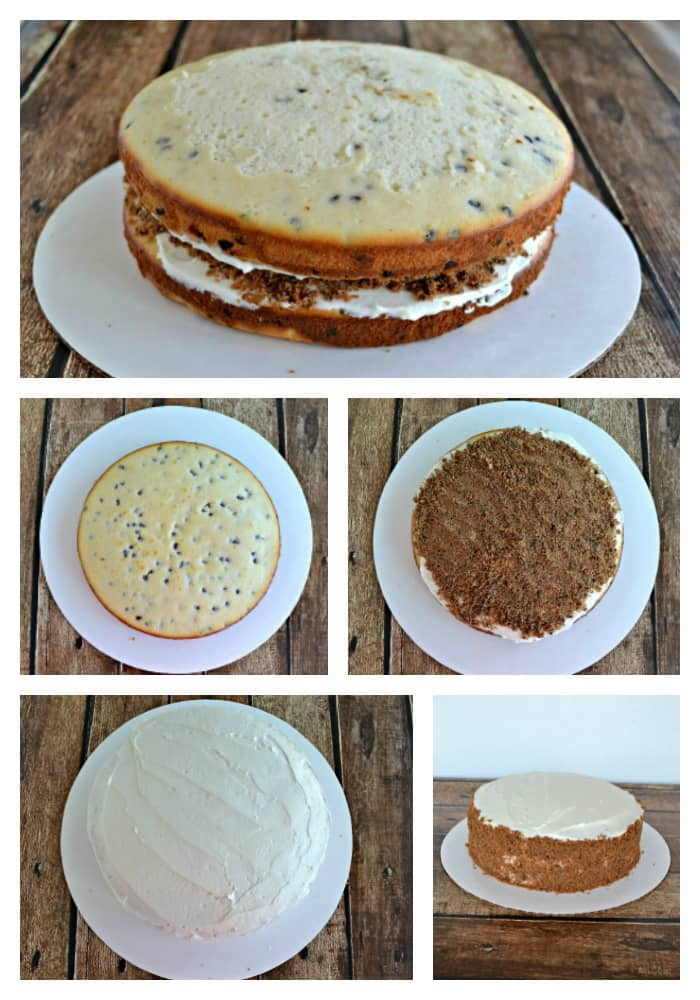 A delicious chocolate chip cake topped with sweet boiled milk frosting and lots of chocolate chip cookies!
