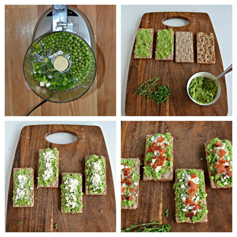 Step by step instructions on how to make these Spring Pea and Green Onion Crostini that's prefect for any occasion