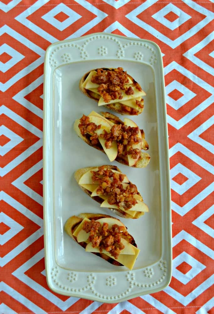 Grab an Apple, Chorizo, and manchego Crostini for an appetizer or snack!