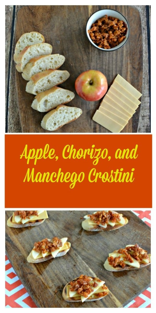 These Apple, Chorizo, and Manchego Crostini are an awesome appetizer!