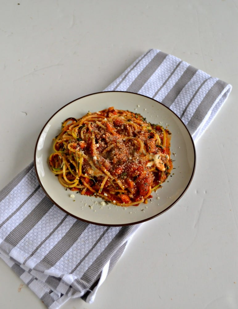 Dig in to this healthier Lean Beef and Vegetable Pasta Bake with zoodles and noodles