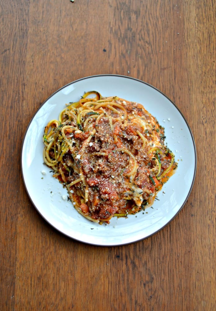 Make your pasta a little healthier with this Lean Beef and Vegetable Pasta Bake with zoodles and noodles