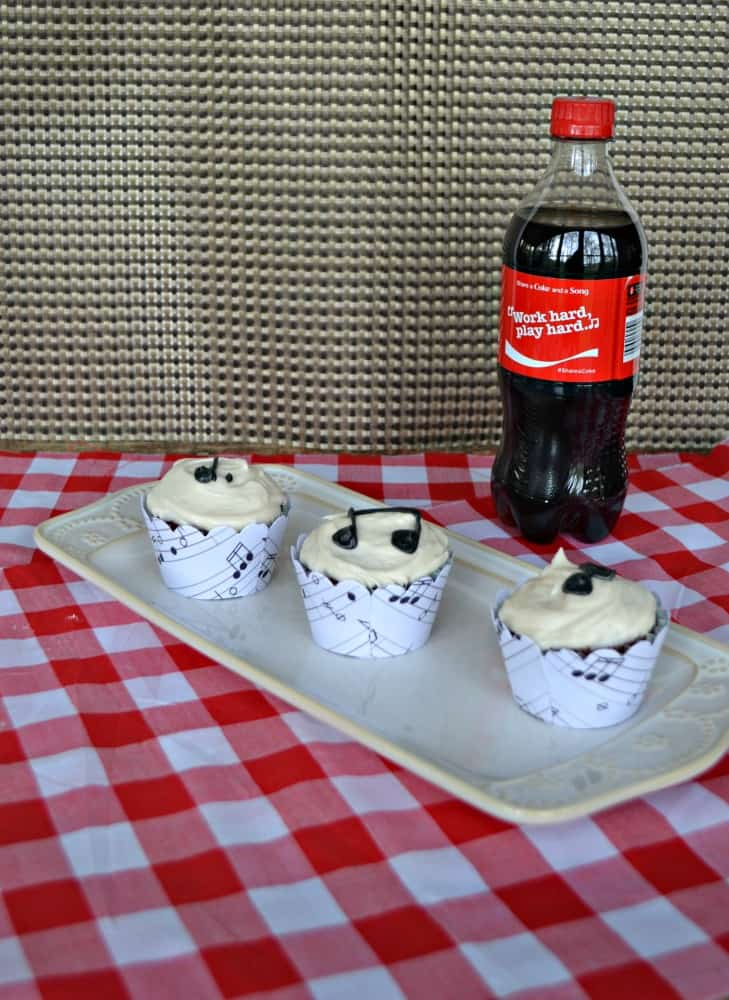 Share a Coke and a Song along with one of these incredible Coca-Cola Chocolate Cupcakes