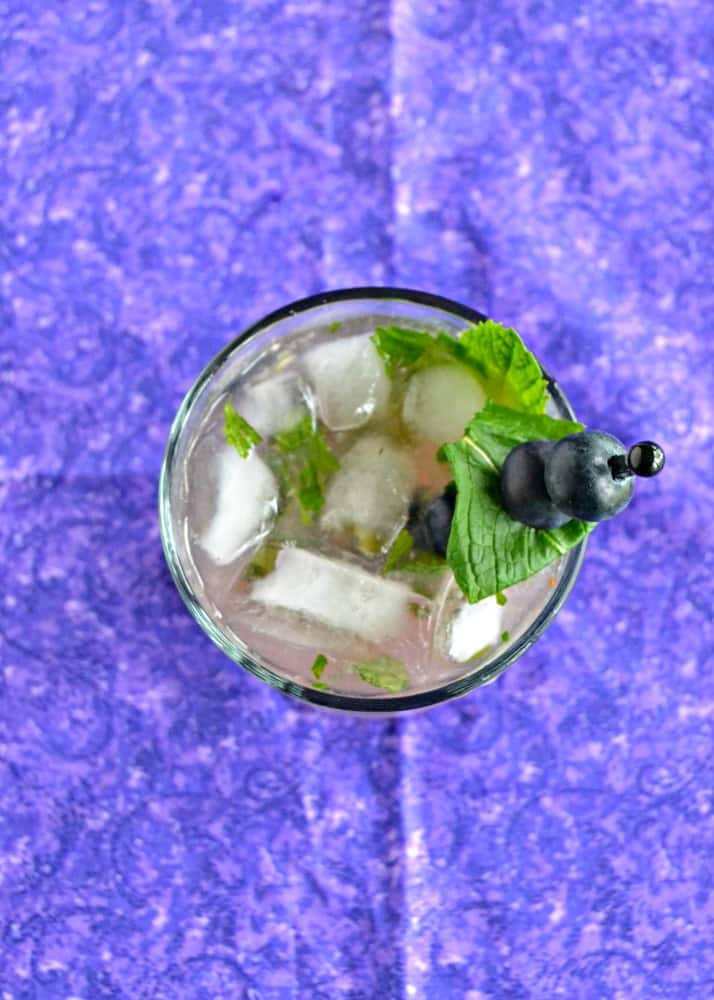 Love the combination of lime, mint, and blueberries in this Blueberry Mojito recipe!