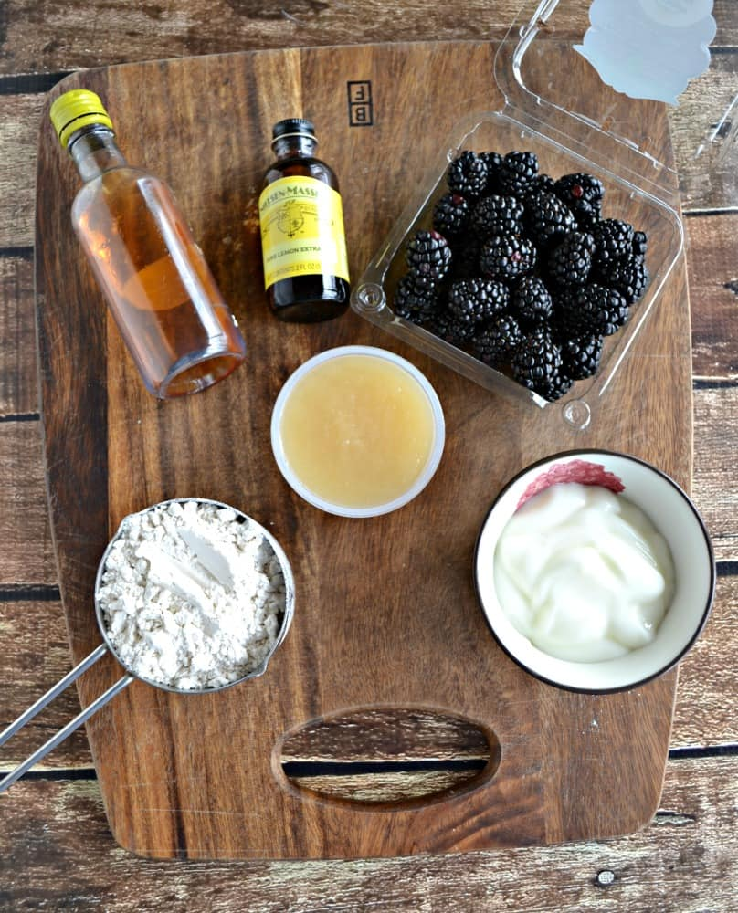All the ingredients needed to make Gluten Free Lemon Blackberry Muffins