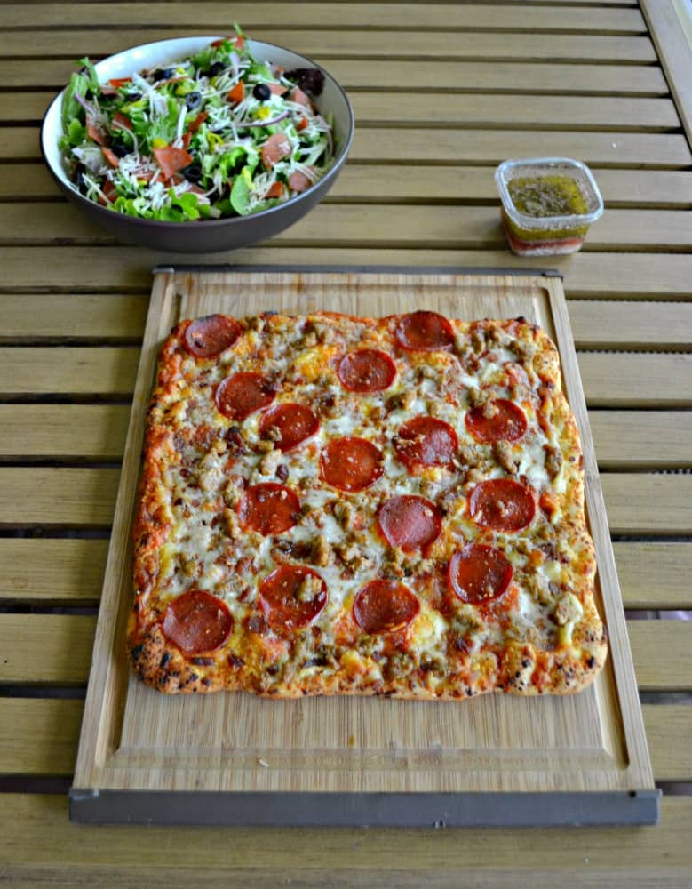 Love a quick and easy meal with high quality ingredients and I get all of that with an Italian Chopped Salad and a Freschetta Pizza.