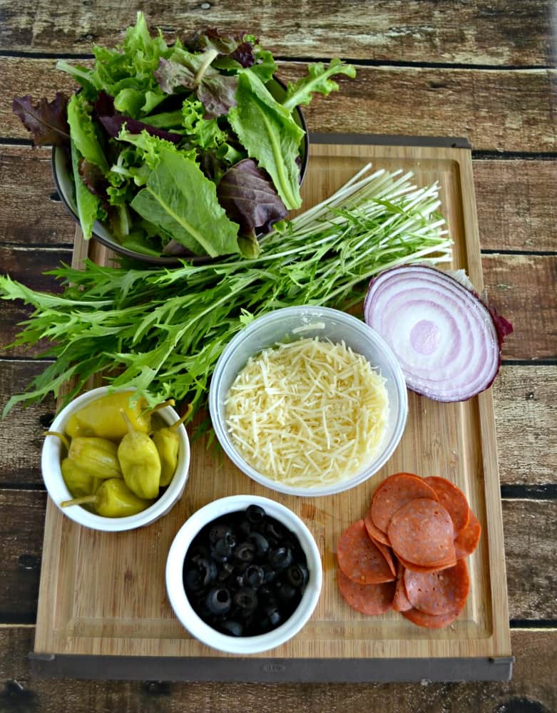 ALl the fresh ingredients you need to make an Italian Chopped Salad