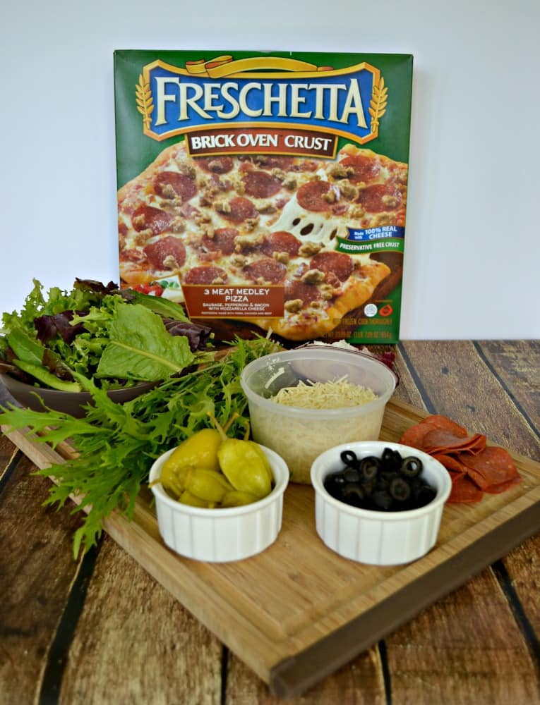 Try a tasty Italian Chopped Salad with a Freschetta pizza for dinner!