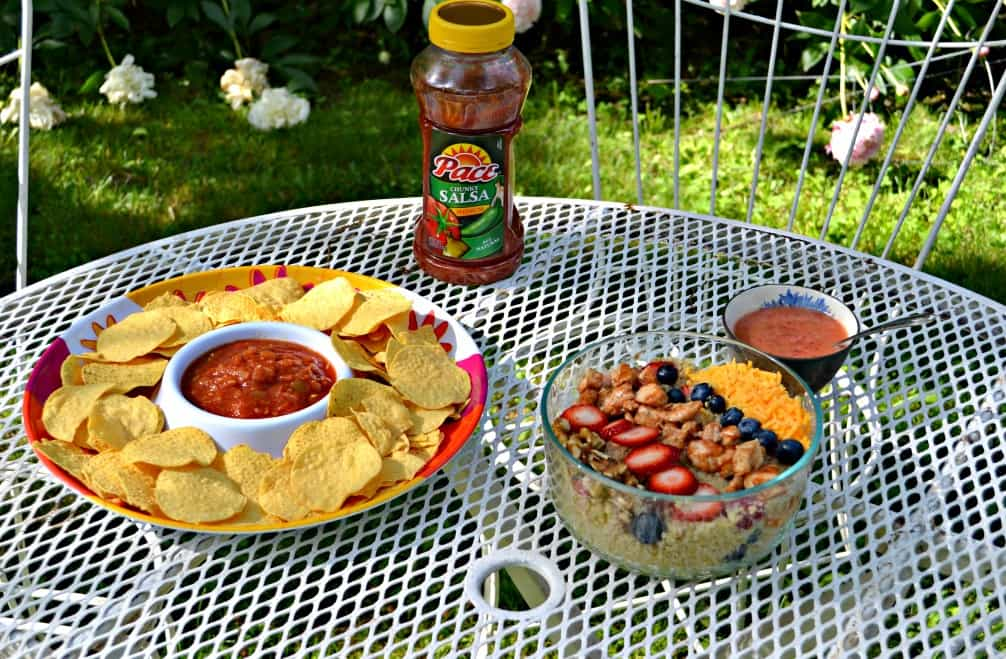 All you need for a great party is some Pace Salsa, Chips, and a BBQ Chicken Quinoa Salad. Check out the recipe now!