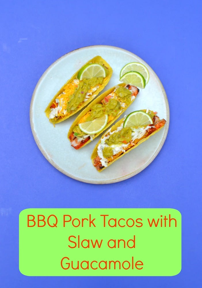 No cookout is complete without these BBQ Pork Tacos with Slaw and Sabra Veggie Fusions Guacamole!