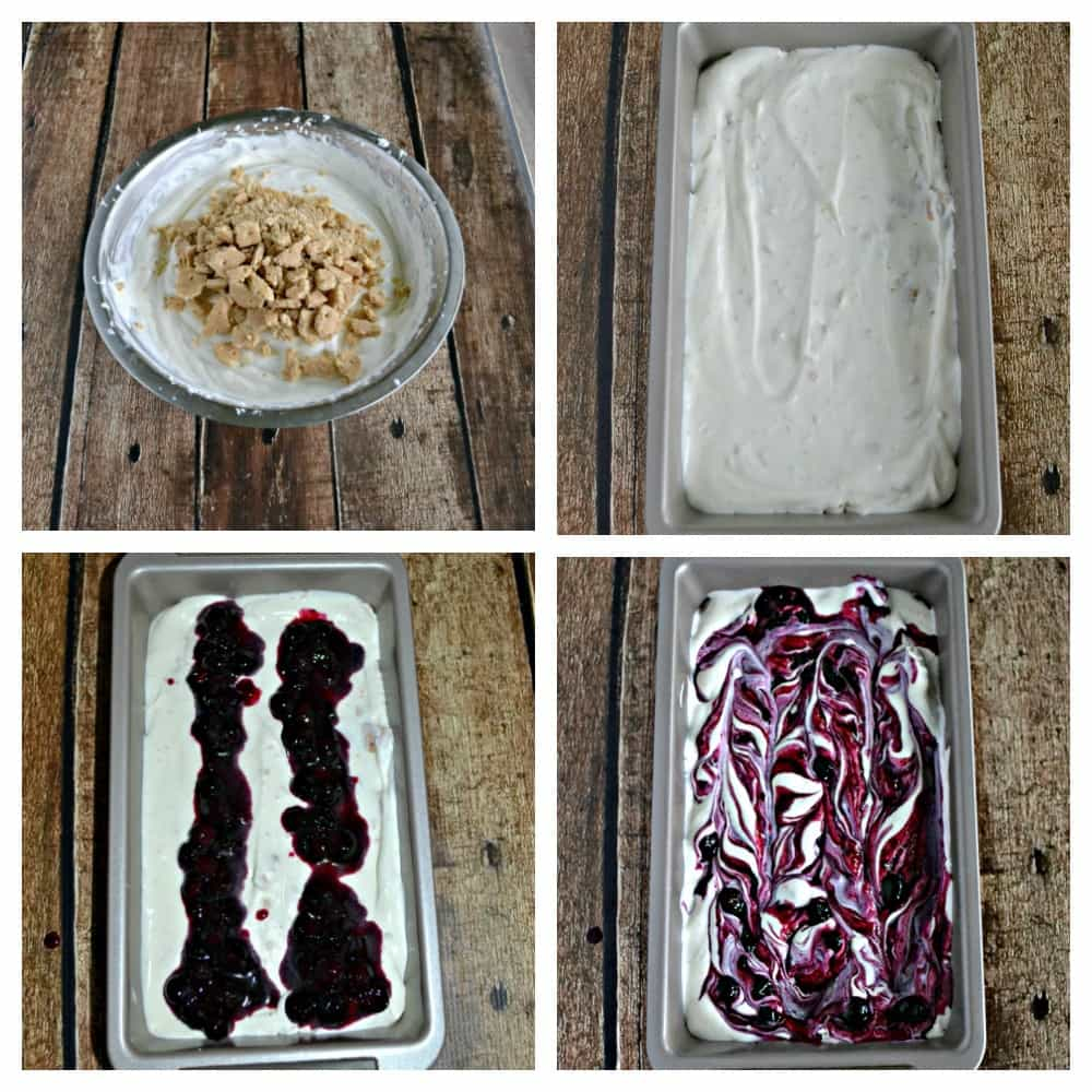 It's easy to make this No Churn Blueberry Graham Cracker Ice Cream!