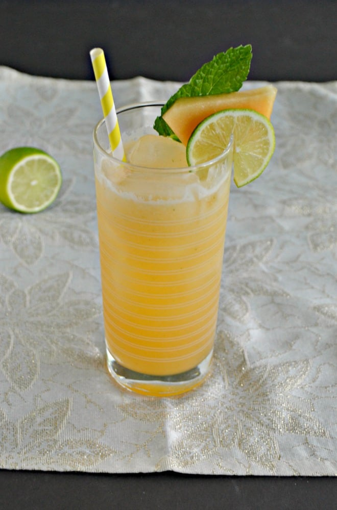 Cool off with a refreshing Cantaloupe Lime Agua Fresca!