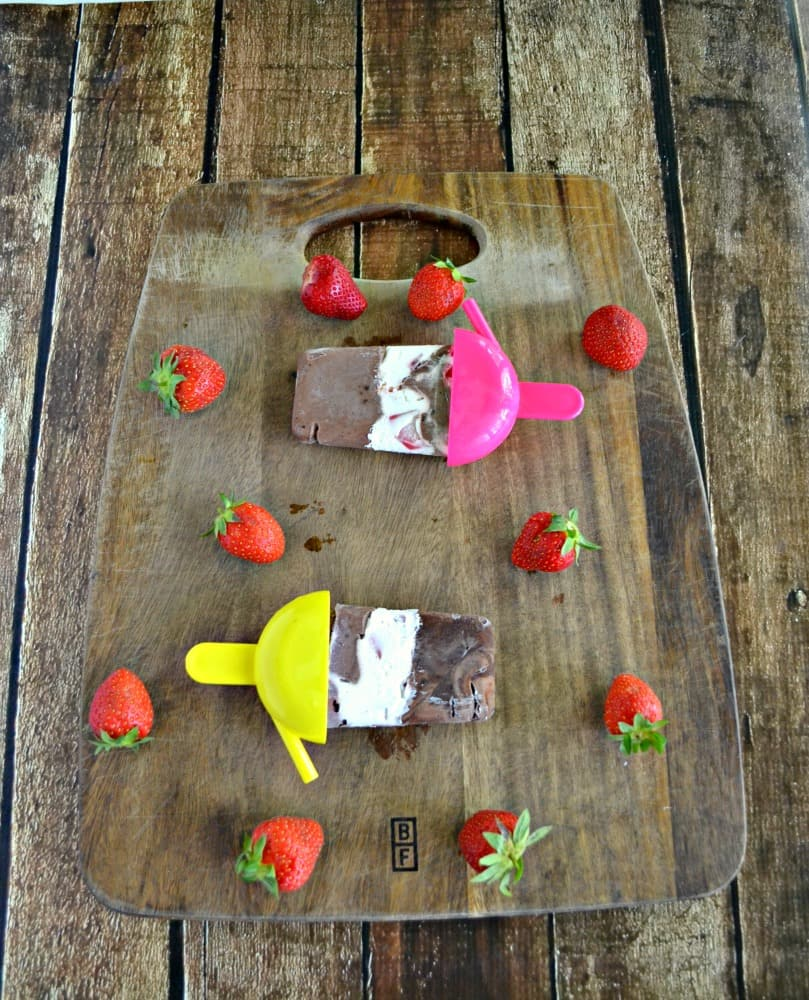 Take a bite out of these fun Chocolate Covered Strawberry Pudding Pops this summer!
