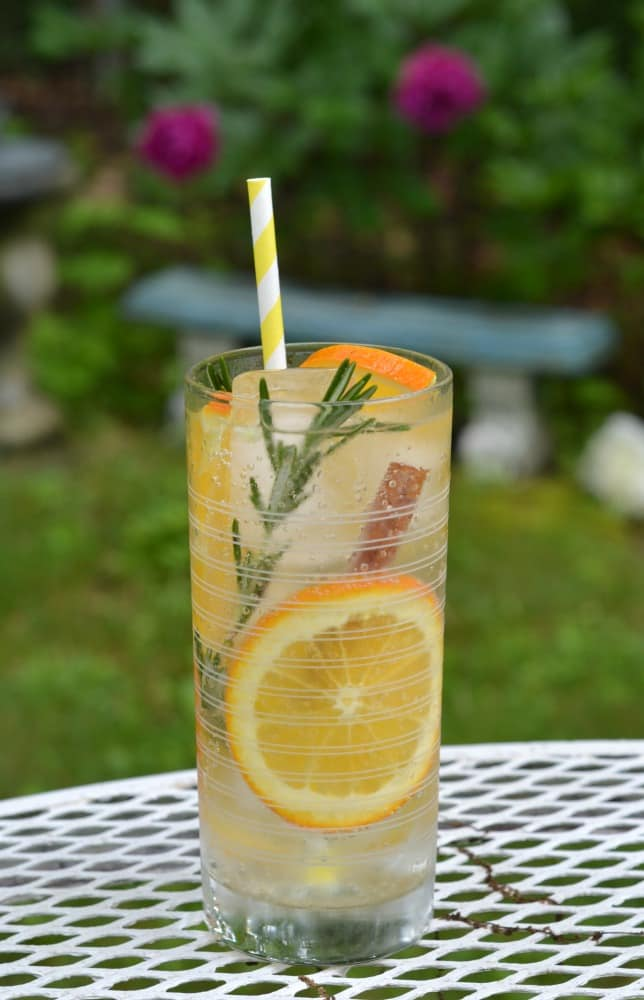 Sip on a refreshing Citrus Rosemary Spice Infused Sparkling Water using rosemary, cinnamon, and oranges in DASANI® Sparkling lime water