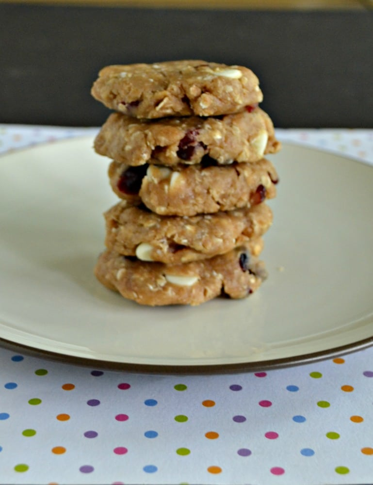 You'll want to eat the entire stack of these tasty No Bake White Chocolate Cranberry Cookies