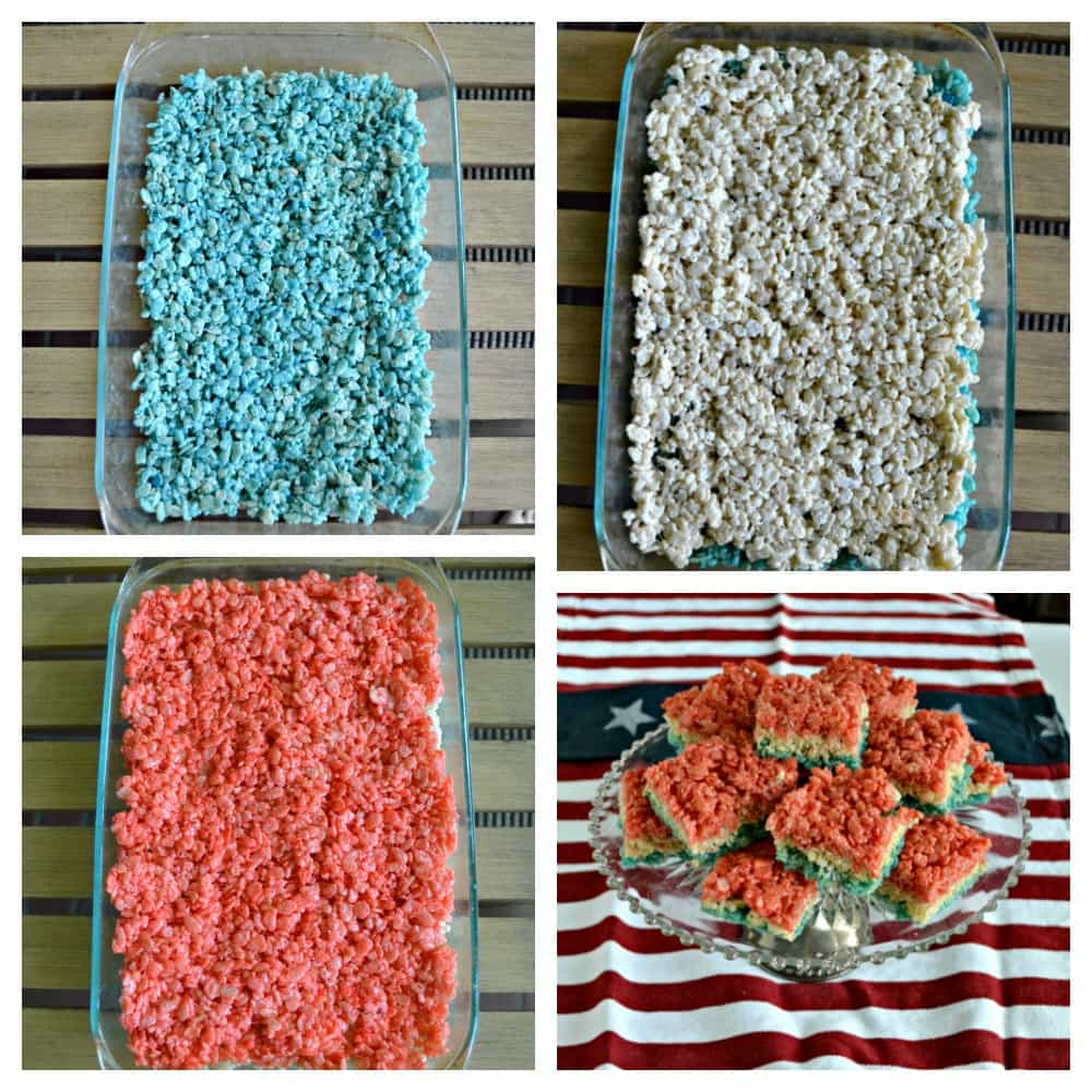 Red, White, and Blue Rice Krispies Treats are great for patriotic holidays!