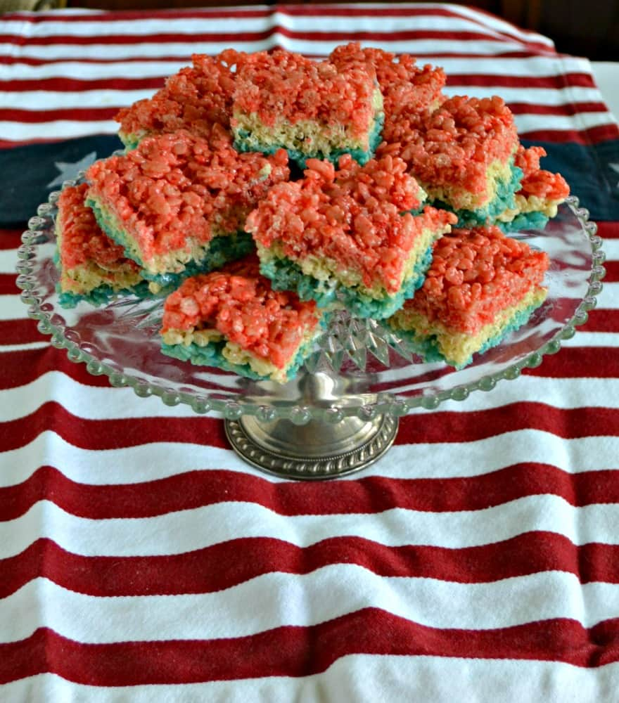 It's easy to make these Red, White, and Blue Rice Krispies Treats!