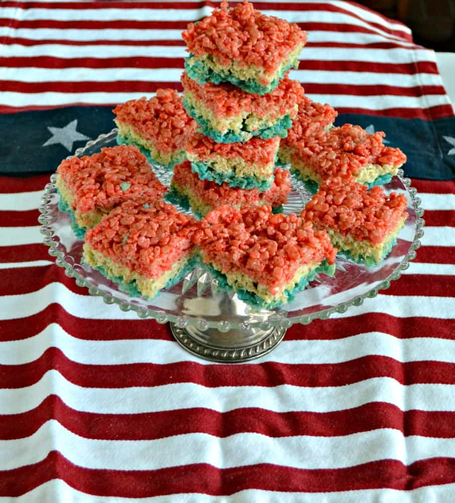 These Red, White, and Blue Rice Krispies Treats take just minutes to make and eat!