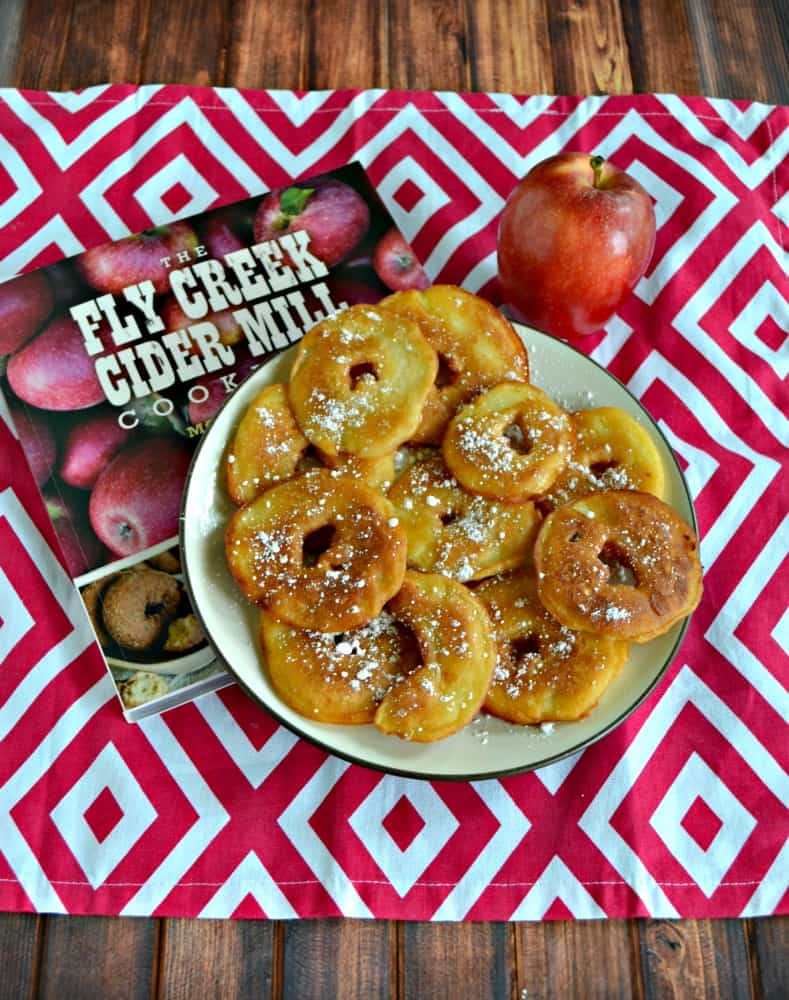 I love these crispy Apple Fritters topped with Powdered Sugar from the Fly Creek Cider Mill Cookbook!