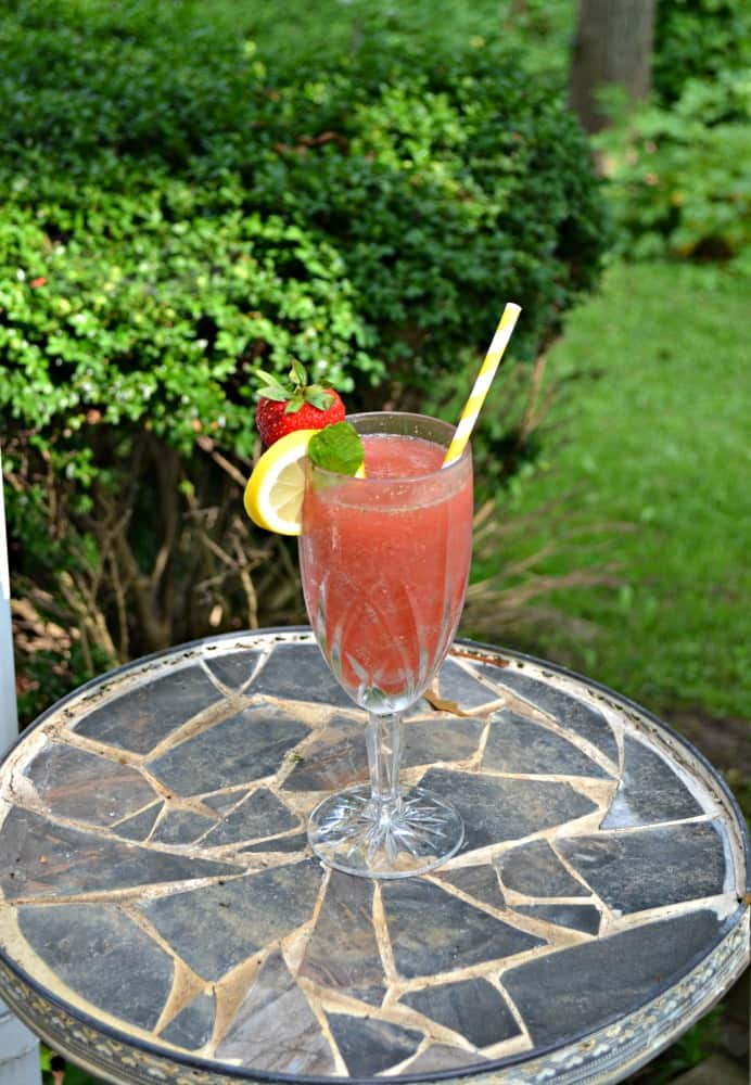 Cool off with a Frozen Strawberry Lemonade Moscato Punch this summer!